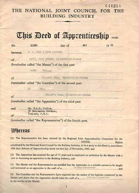 deed of apprenticeship carpentry joinery