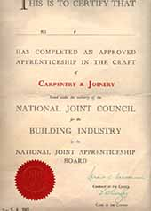 Completion certificate of approved apprenticeship in the craft of carpentry and Joinery
